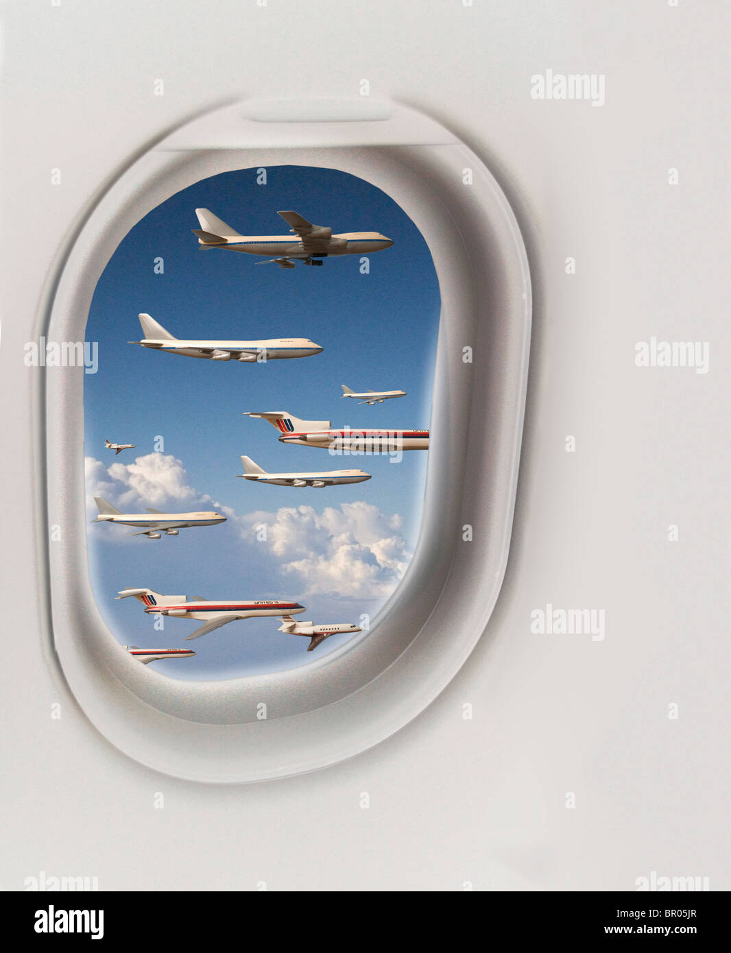 Many Airplanes viewed outside cabin window - Stock Image