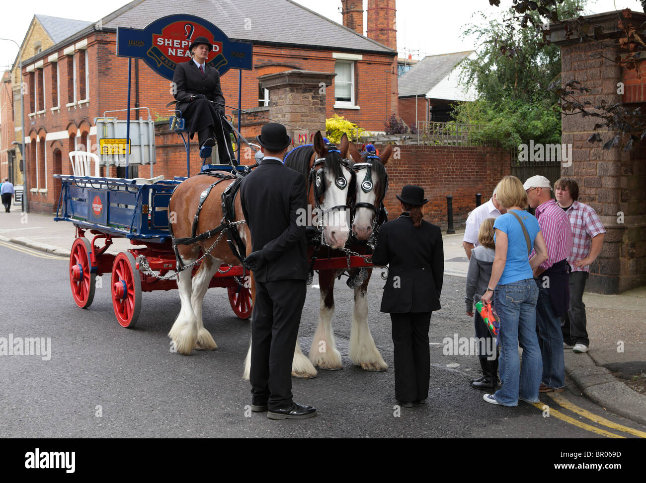 An old fashioned beer cart at the Faversham hop festival Stock Photo