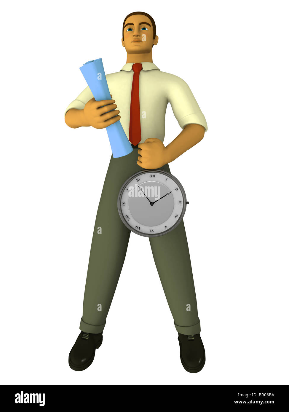 A businessman holding a stop watch and blueprints drawn in a 3Dstyle - Stock Image