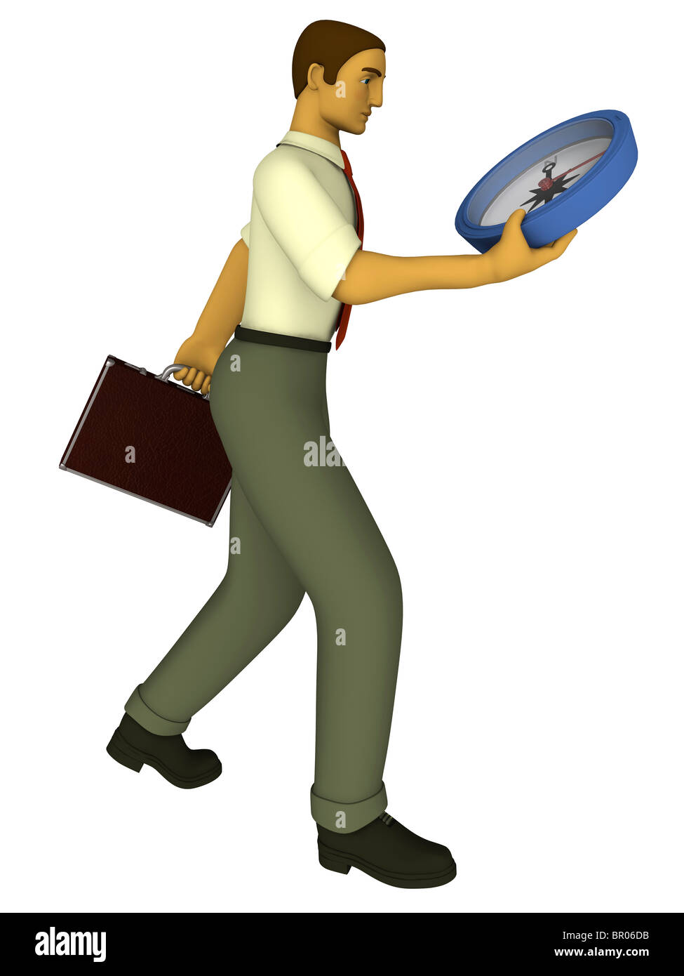 A business man being directed by a compass illustrated in a 3D style - Stock Image