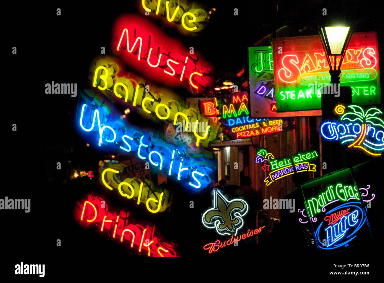 Neon signs on Bourbon Street in The French Quarter, New Orleans, Louisiana, USA - Stock Image