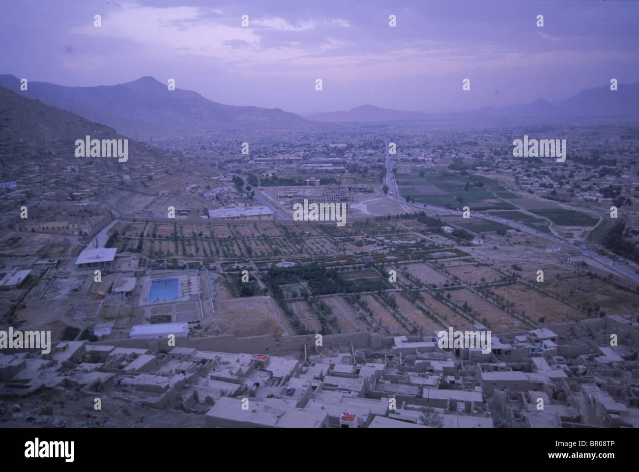 A view from a hill shows the complex of the Babur Gardens, Kabul - Stock Image