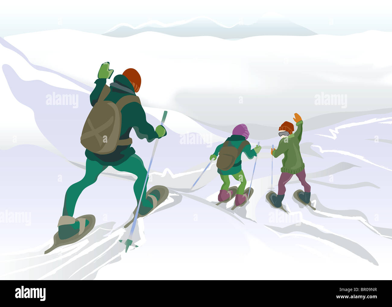 A drawing of a father and his children snowshoeing on snow capped mountains Stock Photo