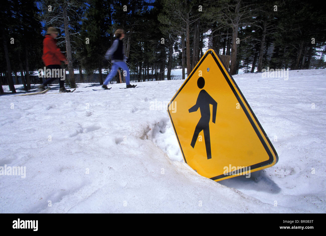 Snowshoeing on a sunny spring day. - Stock Image