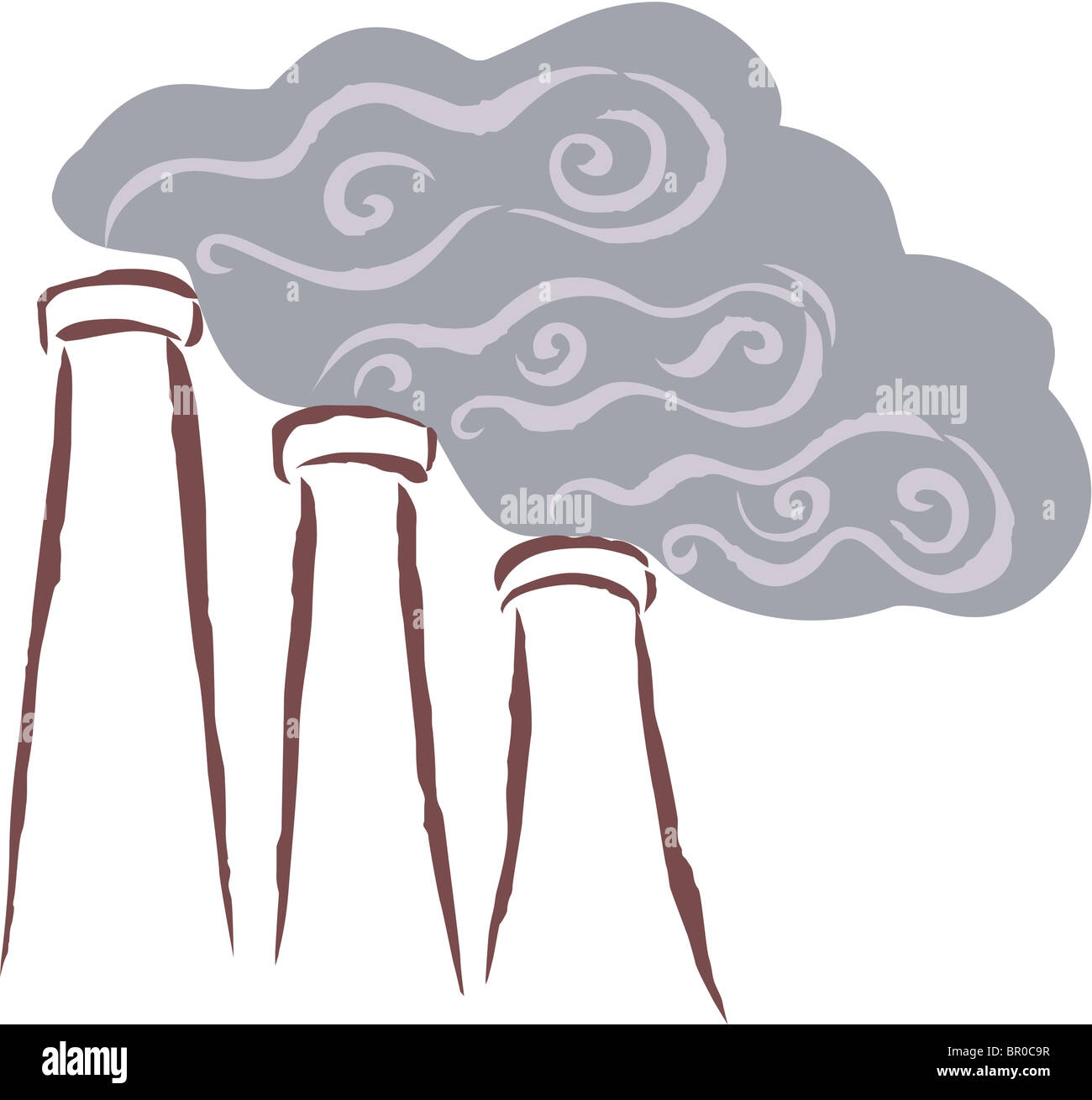 Vents emitting smoke, polluting the surrounding area - Stock Image