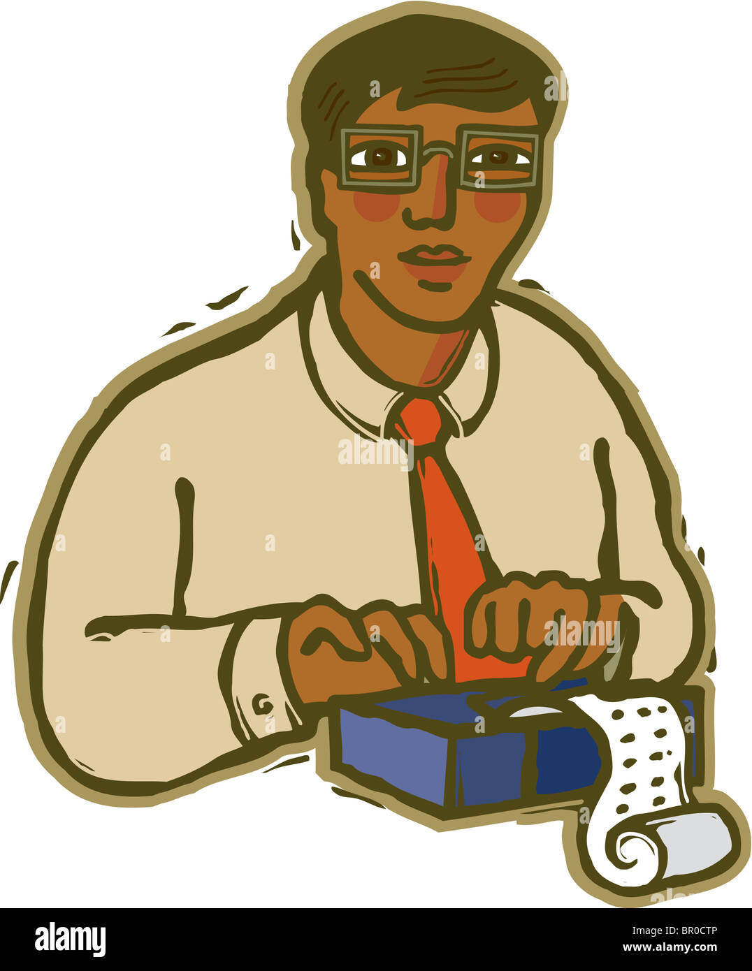 A Picture Of A Stenographer Typing On White Background Stock Photo
