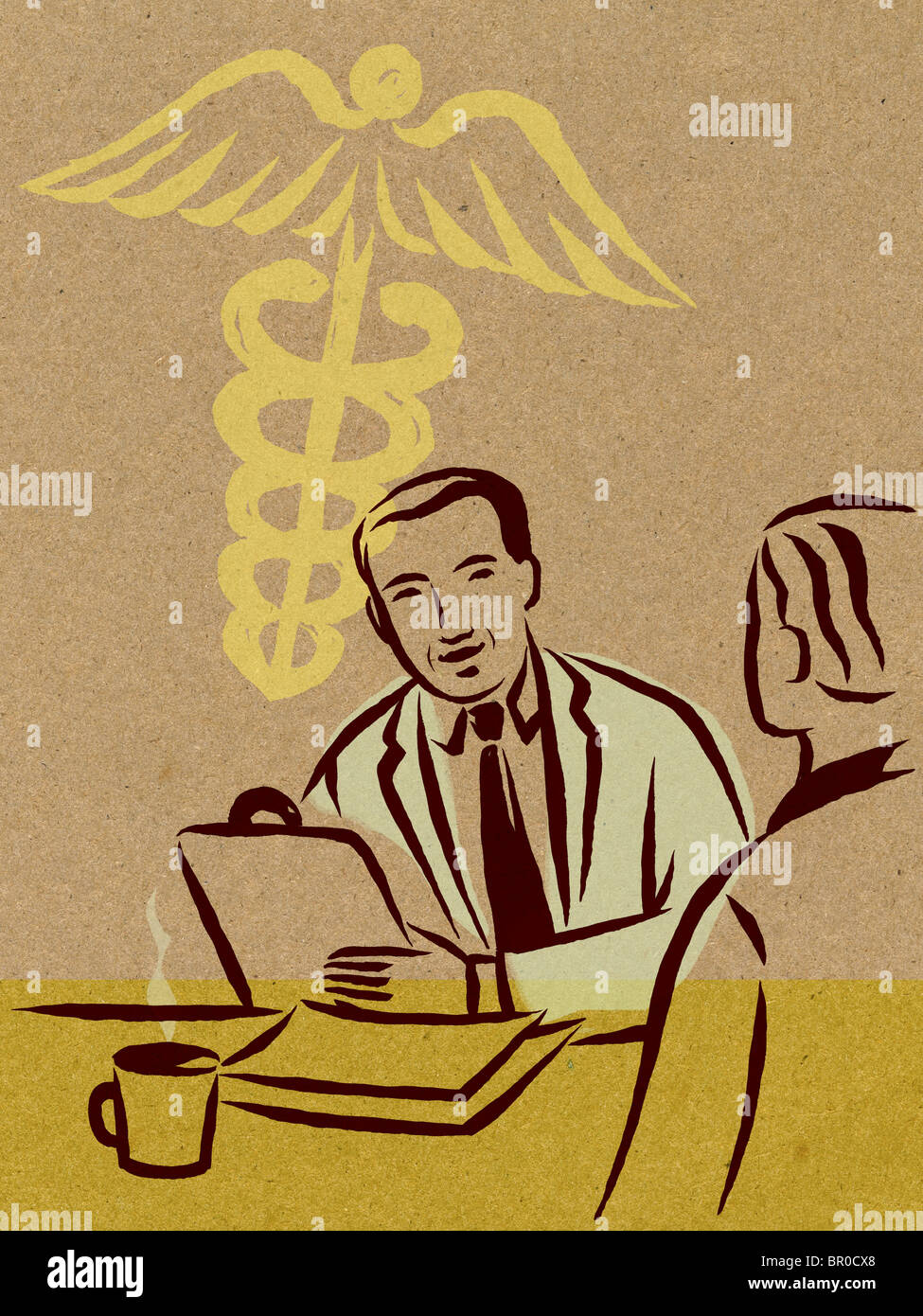 Illustration of two doctors having a discussion and a caduceus sign - Stock Image