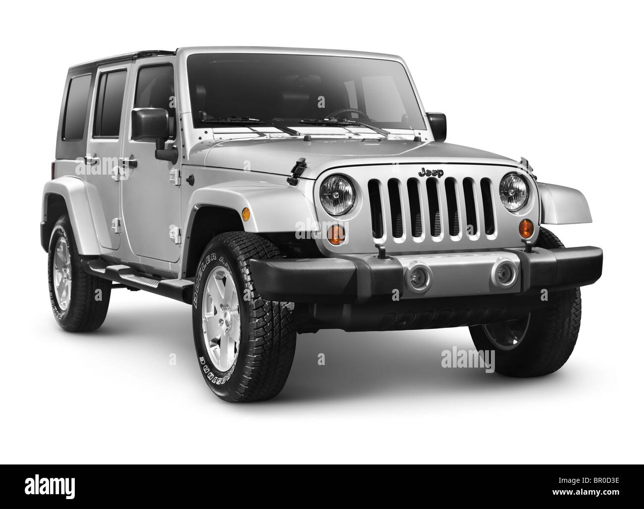 Silver 2011 Jeep Wrangler Unlimited Sahara 4x4 SUV isolated on white background with clipping path - Stock Image