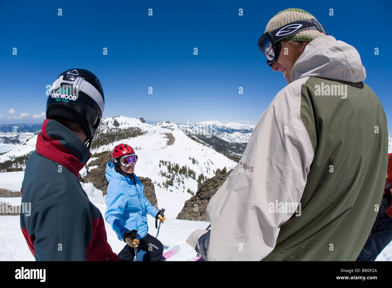 Group of skiers laughing at Kirkwood ski resort near Lake Tahoe, CA.  (fisheye) Stock Photo