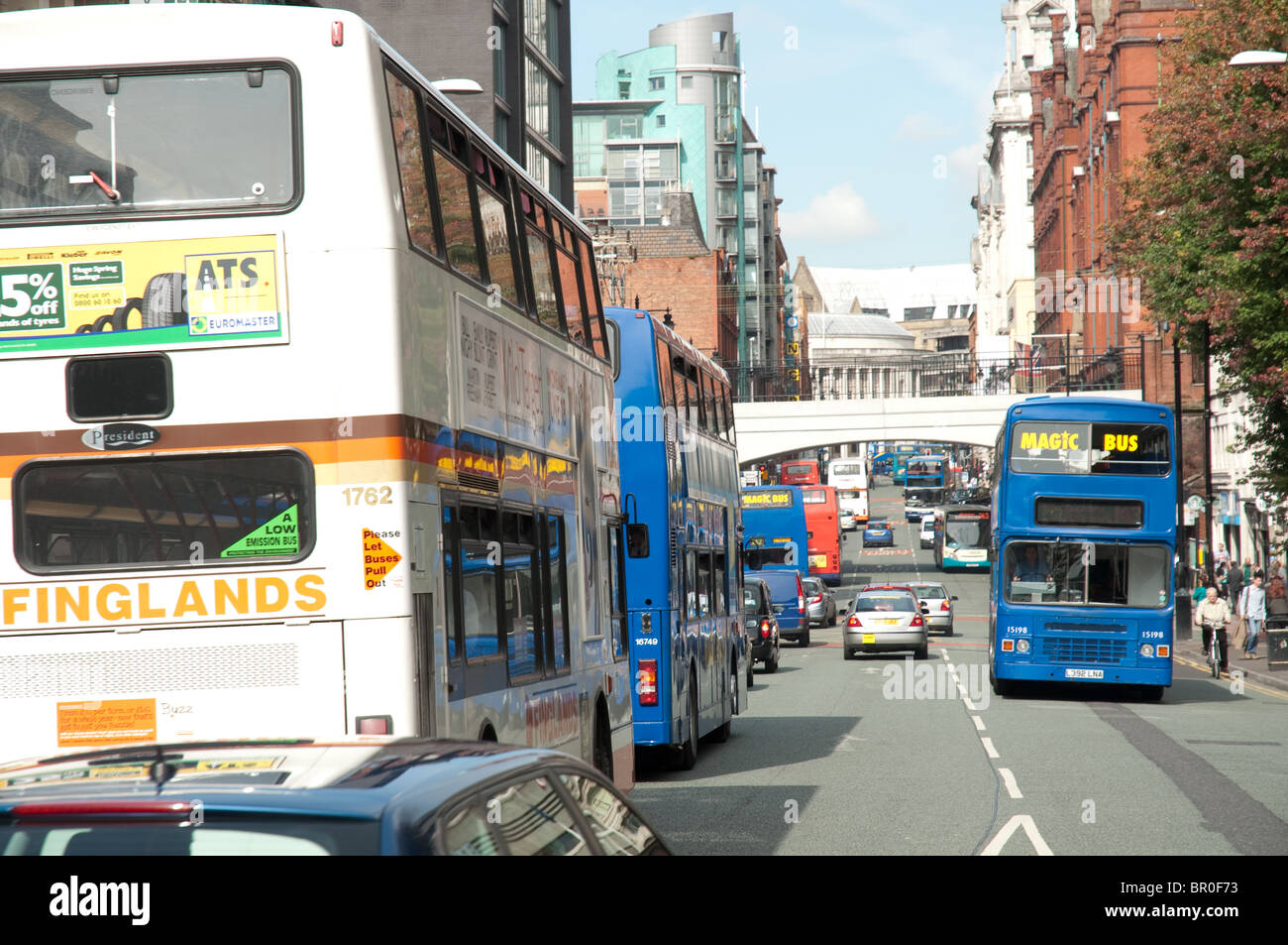 Buses on Oxford Road,Manchester,UK. - Stock Image