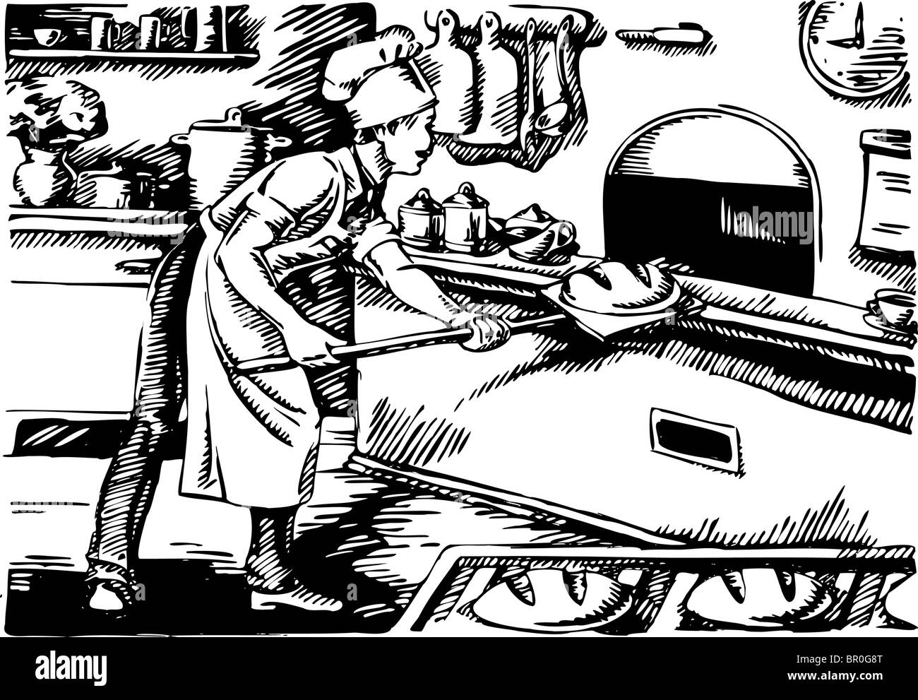 Man baking bread in an old fashioned oven black and white - Stock Image