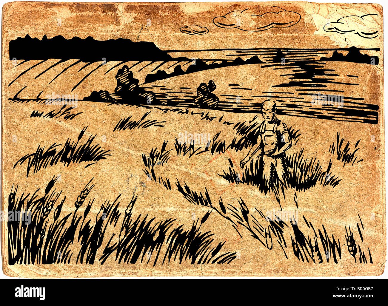 Farmer inspecting his crops, on vintage paper background - Stock Image