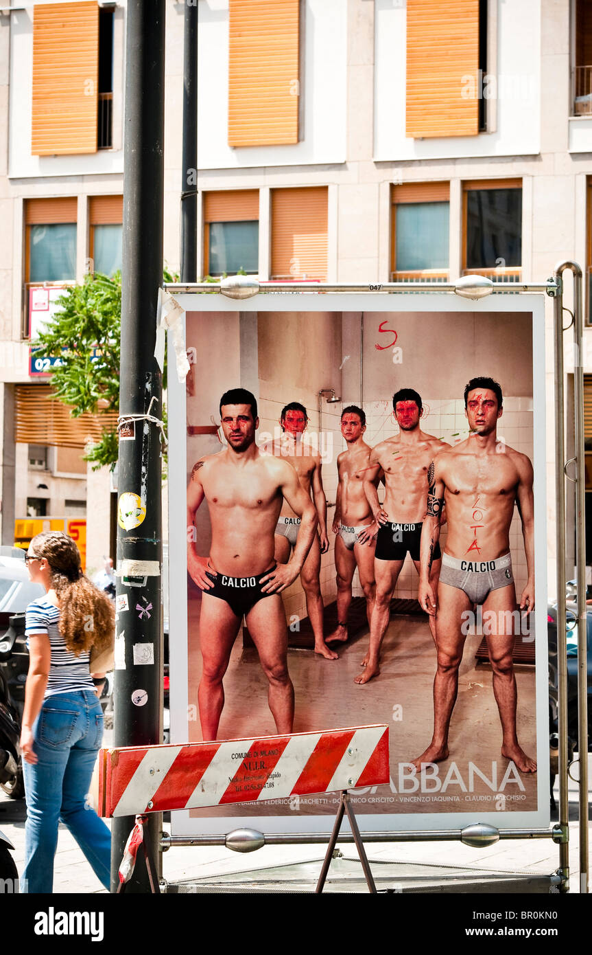 Dolce Gabbana, tagged publicity in the Brera streets of Milan, Lombardy, Italy. - Stock Image