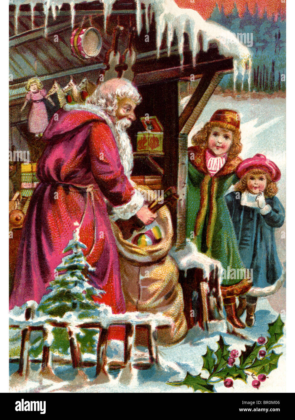 Western Santa Delivering Christmas Presents Stock Photos & Western ...