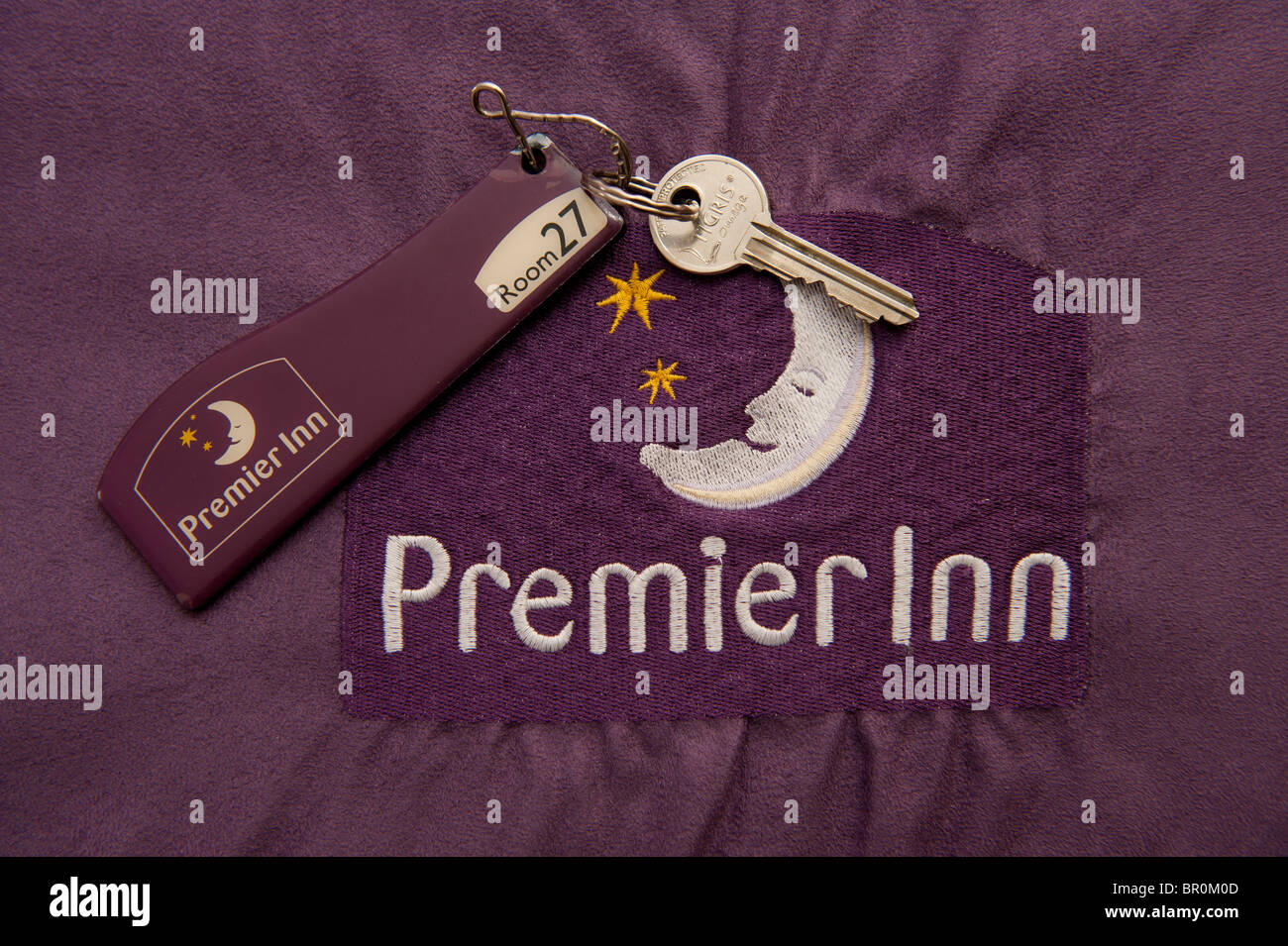 Bedroom in a Premier Inn discount hotel, UK - Stock Image