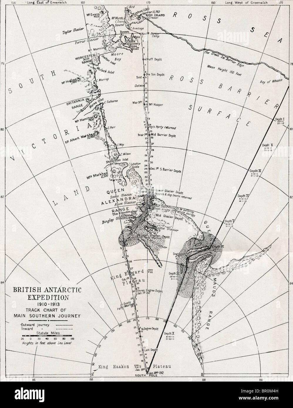 Track chart of the main southern journey of Robert Falcon Scott´s British Antarctic Expedition, 1910 - 1913. - Stock Image