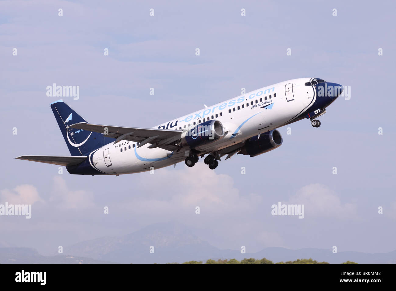 Blu Express airline Boeing 737 taking off from Palma airport Mallorca in 2010 - Stock Image