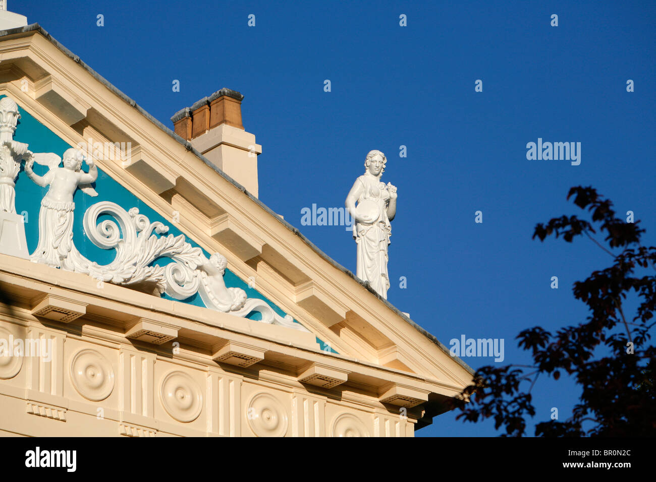 Classical sculpture on top of the pediment of Hanover Terrace, Regent's Park, London, UK - Stock Image