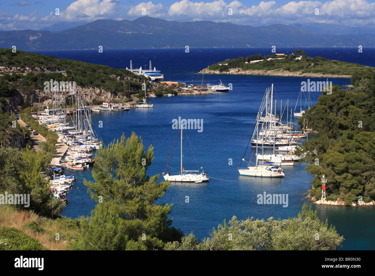 Port of Gaios, Paxos Greece, Sailing boats charter, self hire. Stock Photo