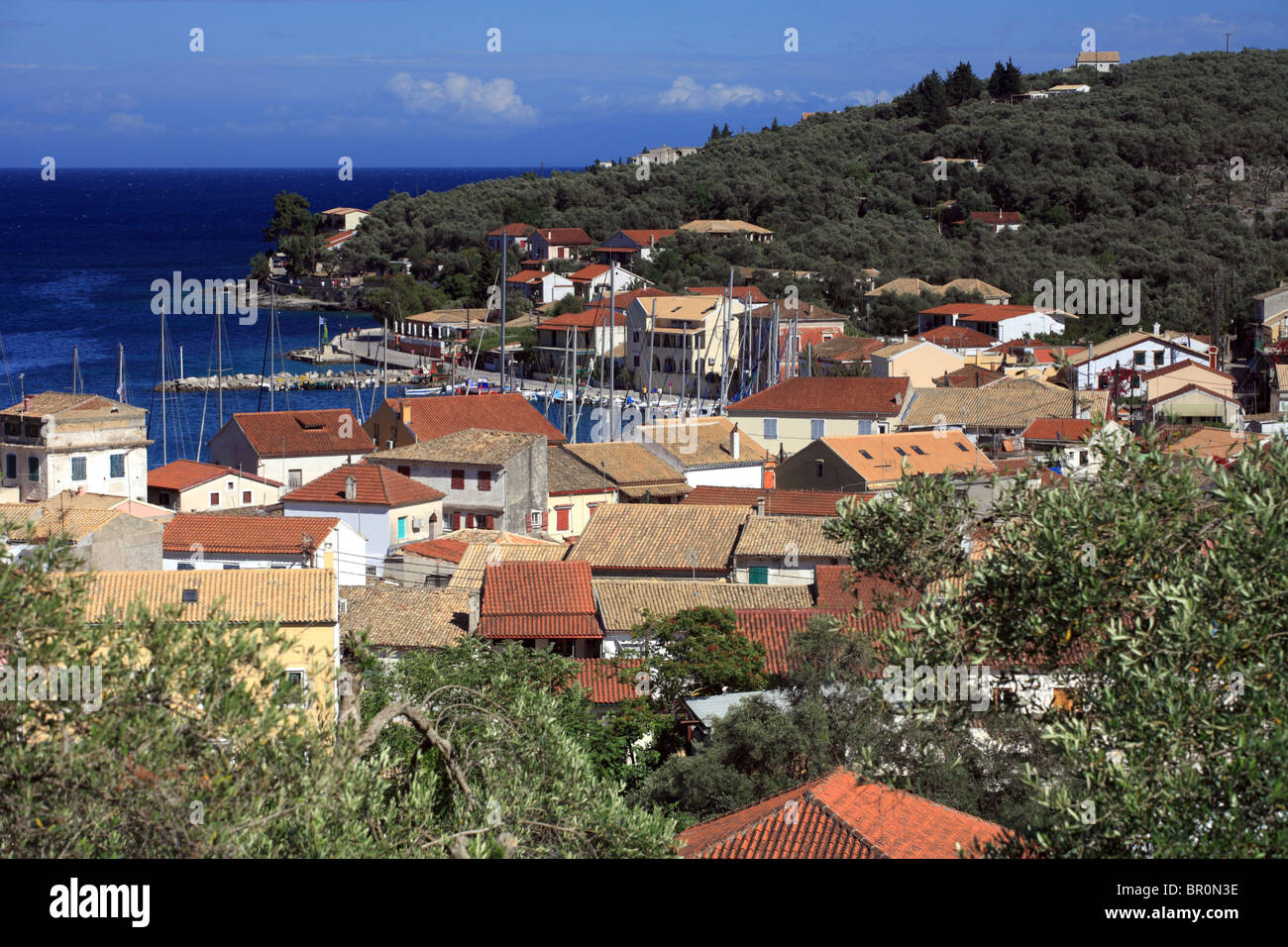 Gaios, Paxos capital town, rooftops looking out to sea, Greece, Greek. - Stock Image