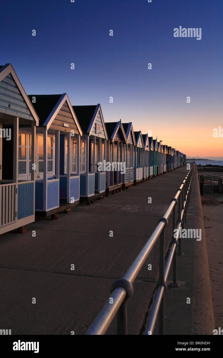 Beach huts, Southwold North beach, Suffolk, East Anglia, Dawn, Sunrise - Stock Image