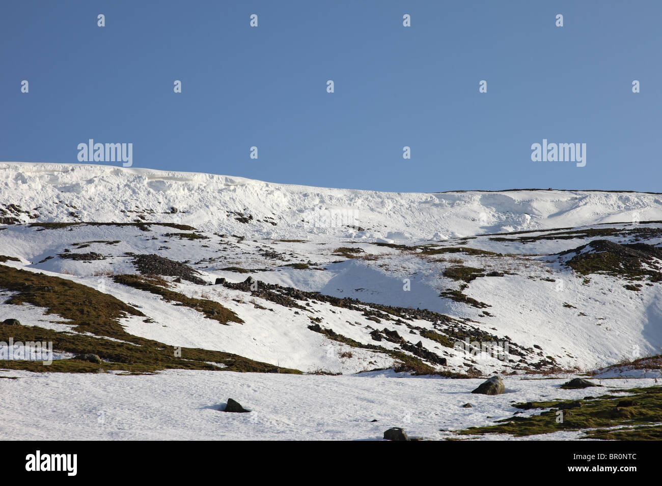Avalanche Debris From a Collapsed Cornice During a Thaw Fremington Edge Swaledale Yorkshire Dales UK - Stock Image