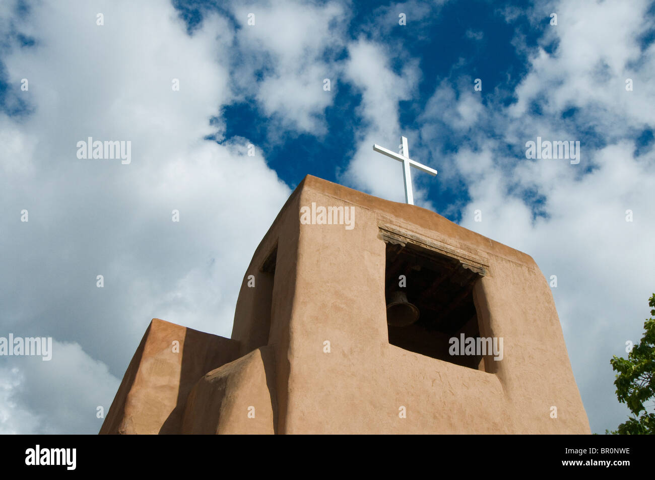 San Miguel Chapel, Sante Fe, New Mexico. Oldest church structure in the US. Original adobe walls built in approximately - Stock Image