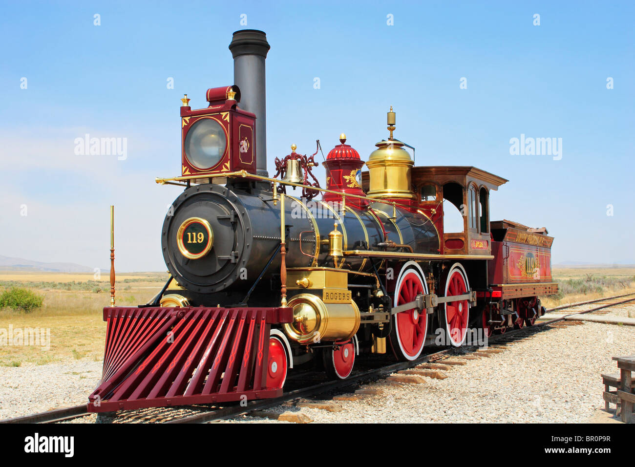 Union Pacific Railroad #119 sits on the rails at Golden Spike National Historic site at Promontory Summit in Utah. - Stock Image