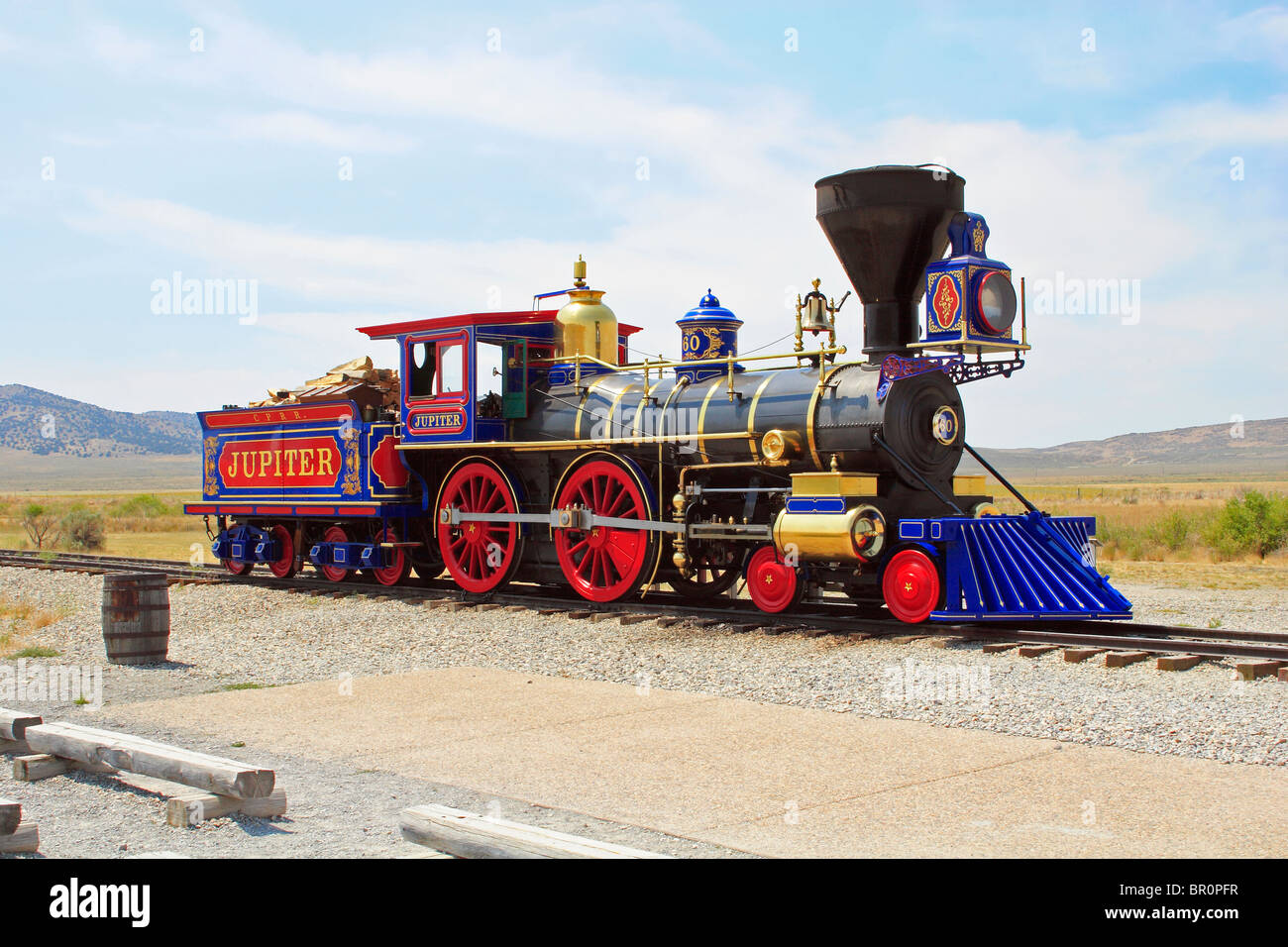 Central Pacific Railroad #60, the Jupiter, sits on the rails at Golden Spike National Historic site at Promontory - Stock Image