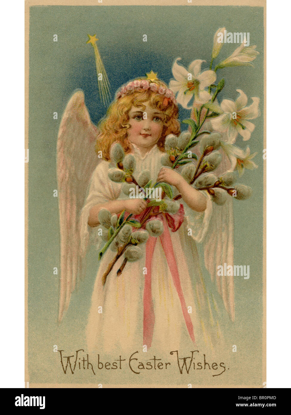 A vintage Easter postcard of an angel holding lilies - Stock Image