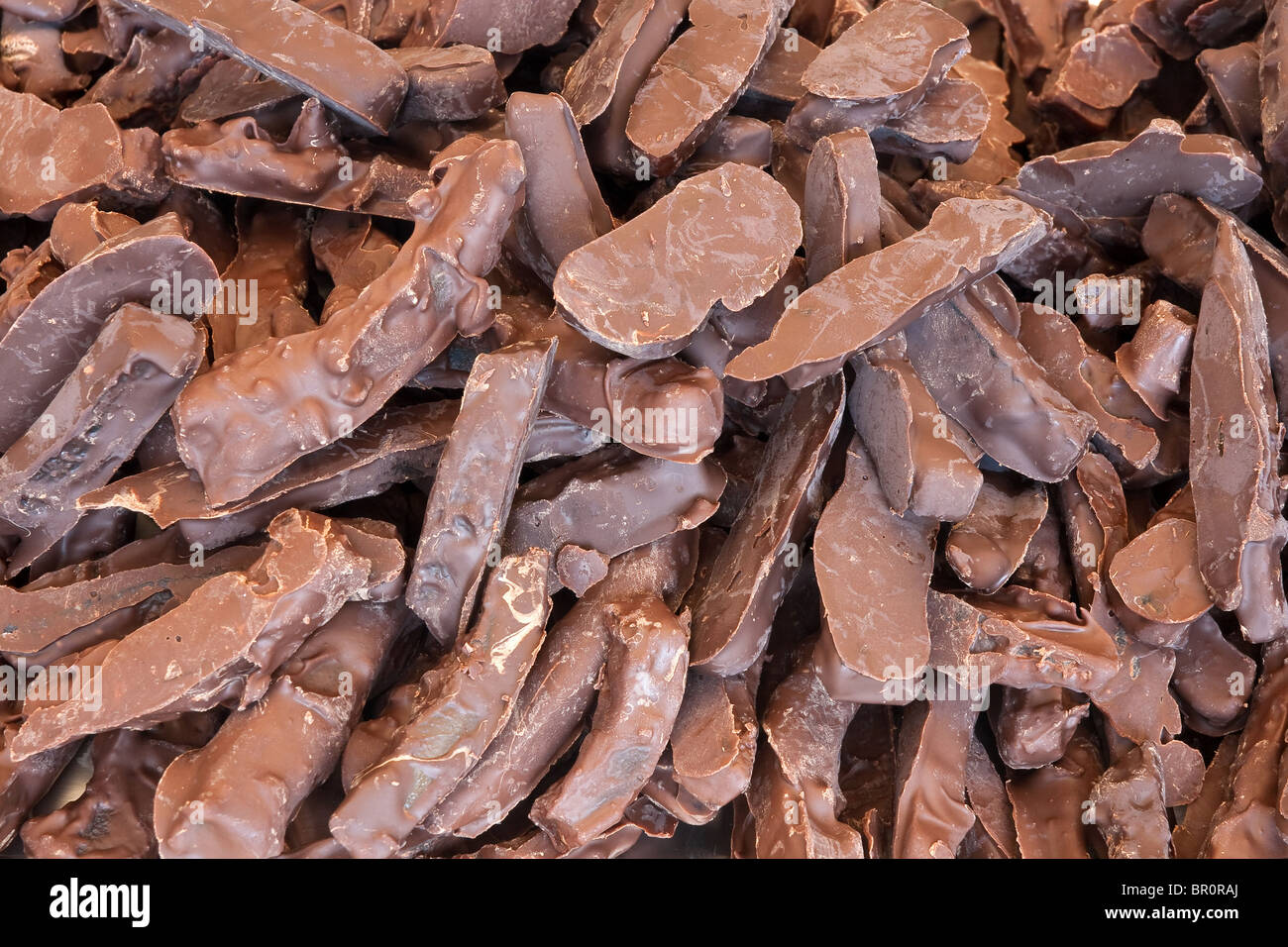 closeup of handmade cookies covered with chocolate - Stock Image