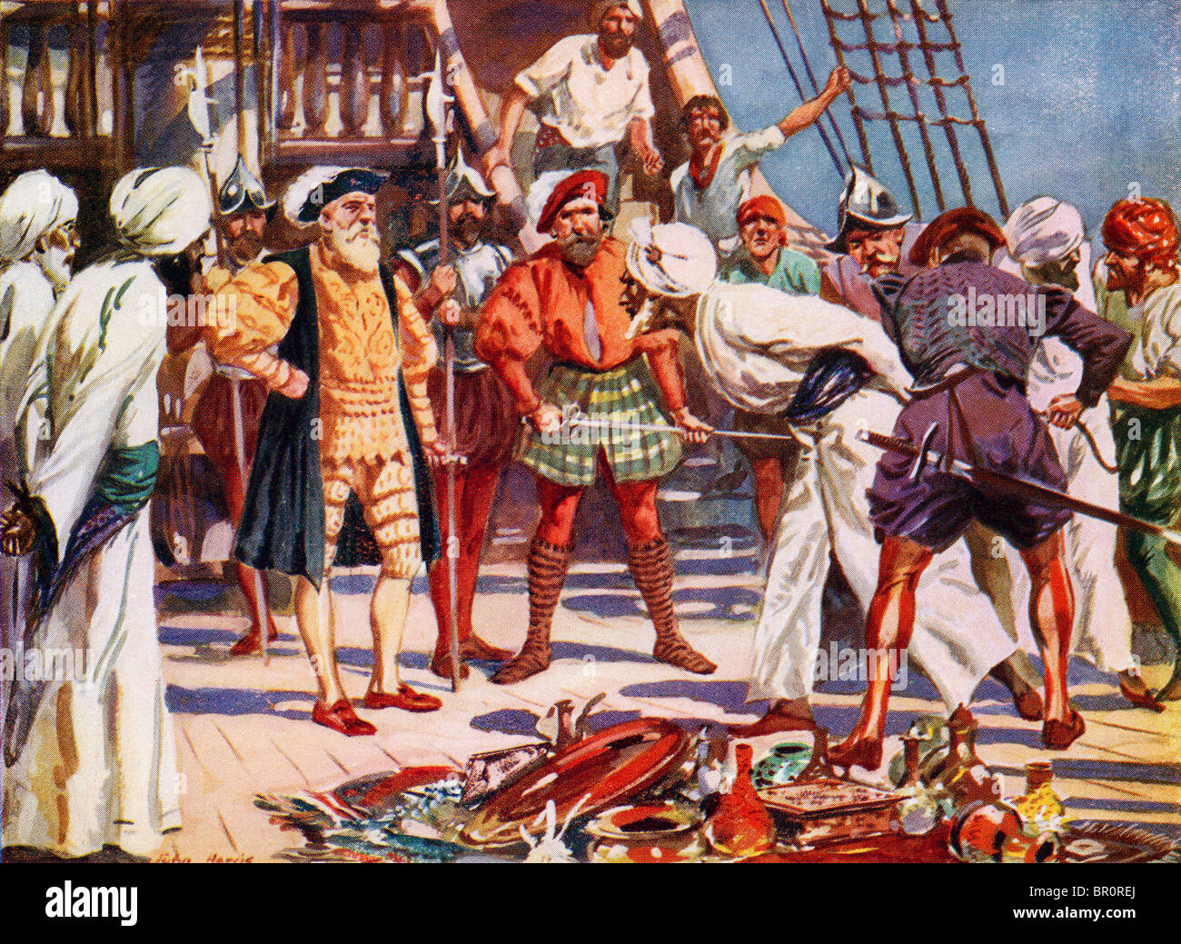 The Merchants of Calicut, India, held as hostages by Vasco Da Gama during his voyage in 1498. - Stock Image