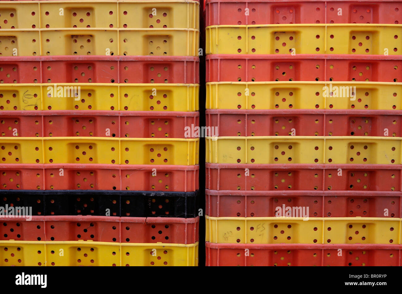 Grape collecting crates at a vineyard.  Stock Photo