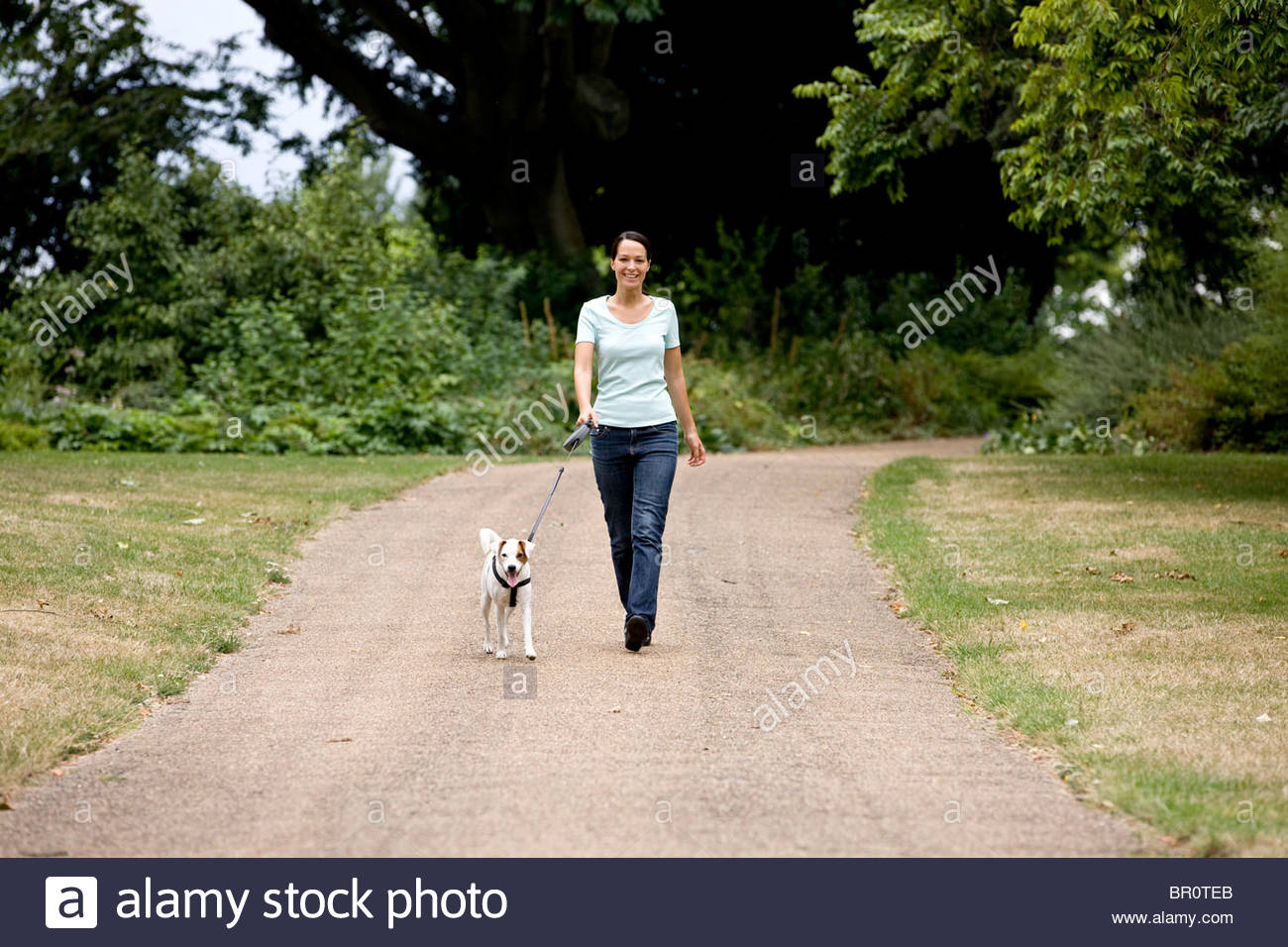 A young woman walking her dog in the park - Stock Image