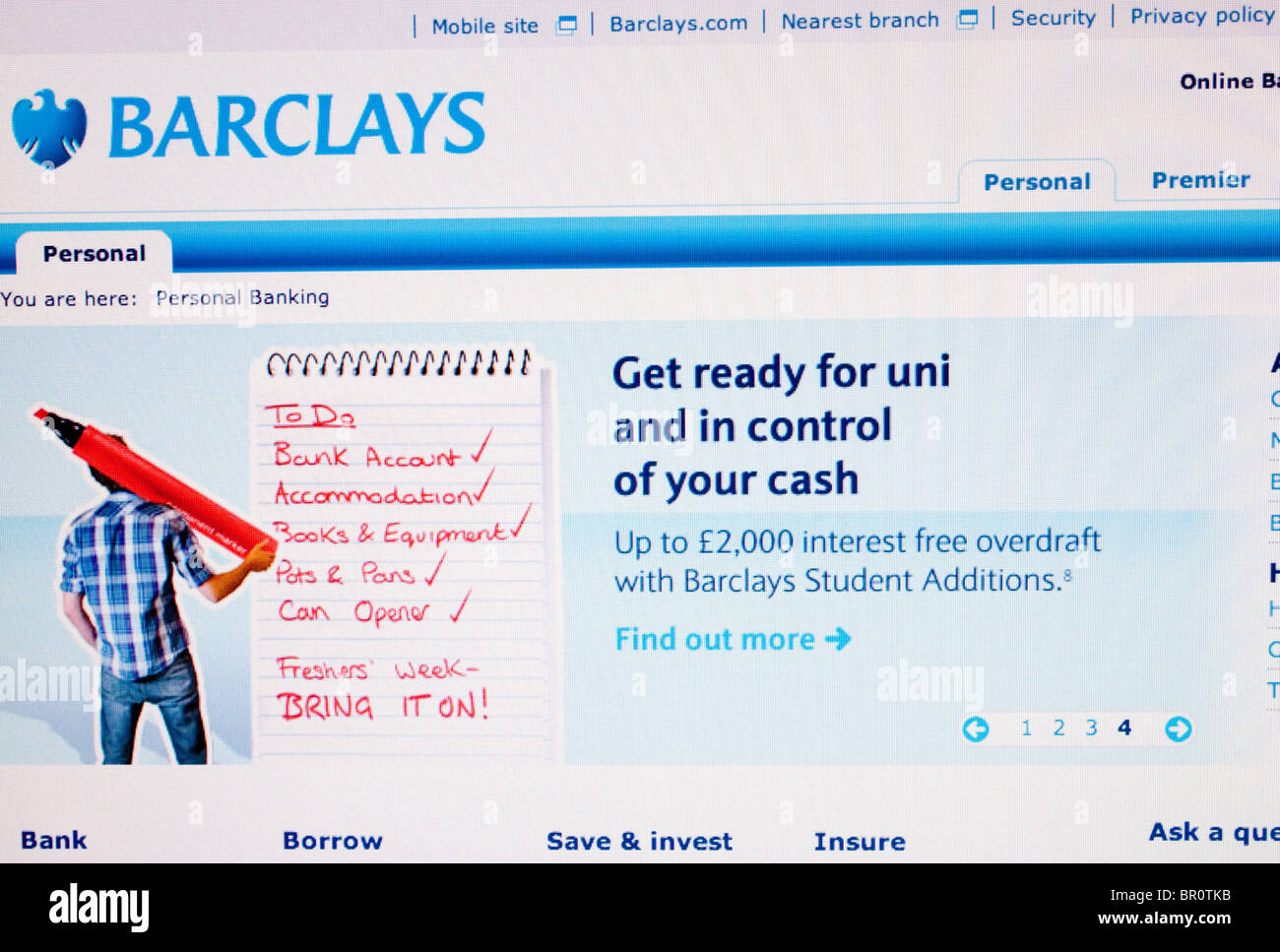 Barclays Bank Screenshot - Stock Image