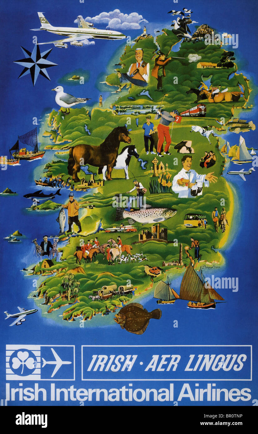 AER LINGUS poster mid 1950s - Stock Image