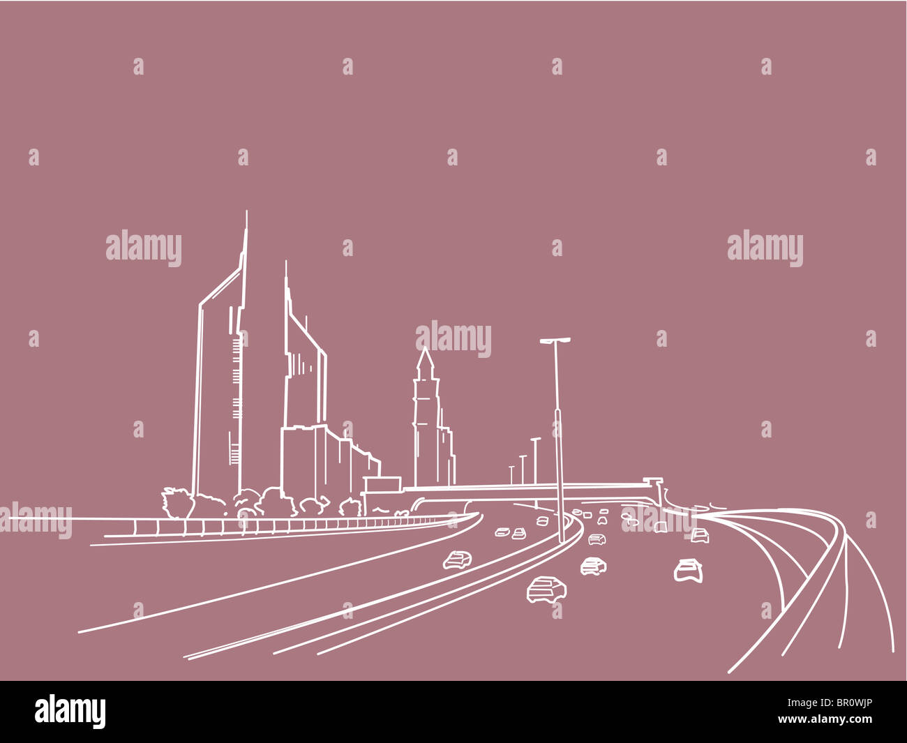 An illustration of a freeway - Stock Image