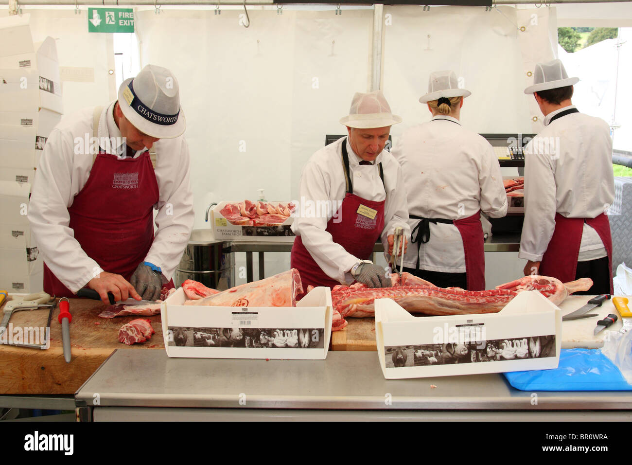 Butchers at the Chatsworth Farm Shop. - Stock Image