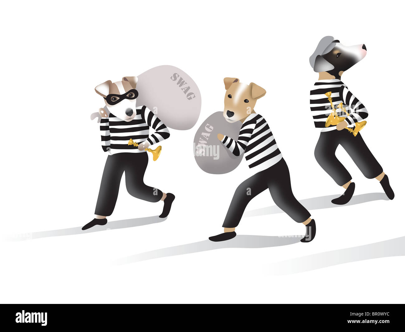 Dogs dressed as robbers with swag bag loot - Stock Image