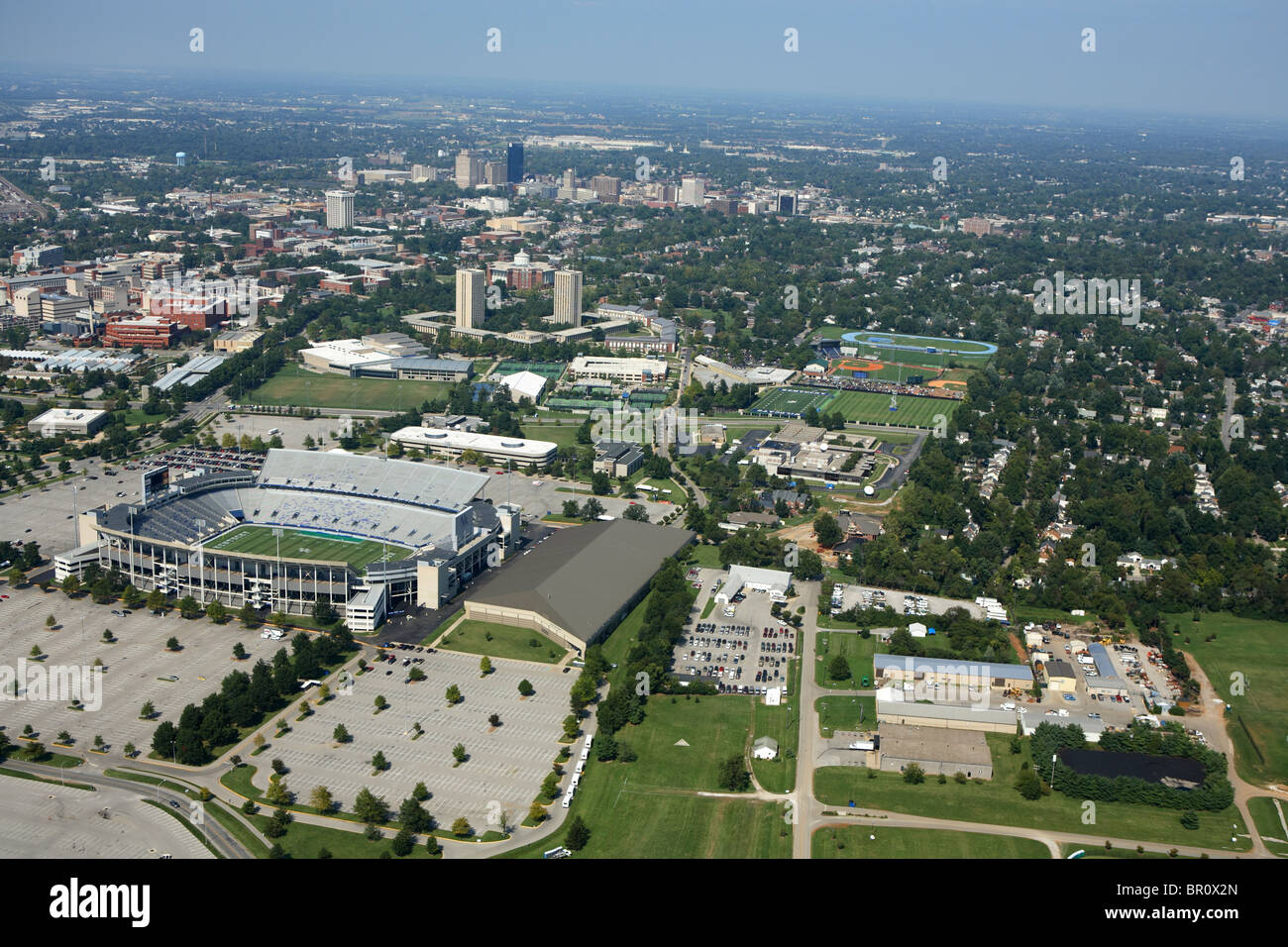 aerial view of some of the university of kentucky campus and