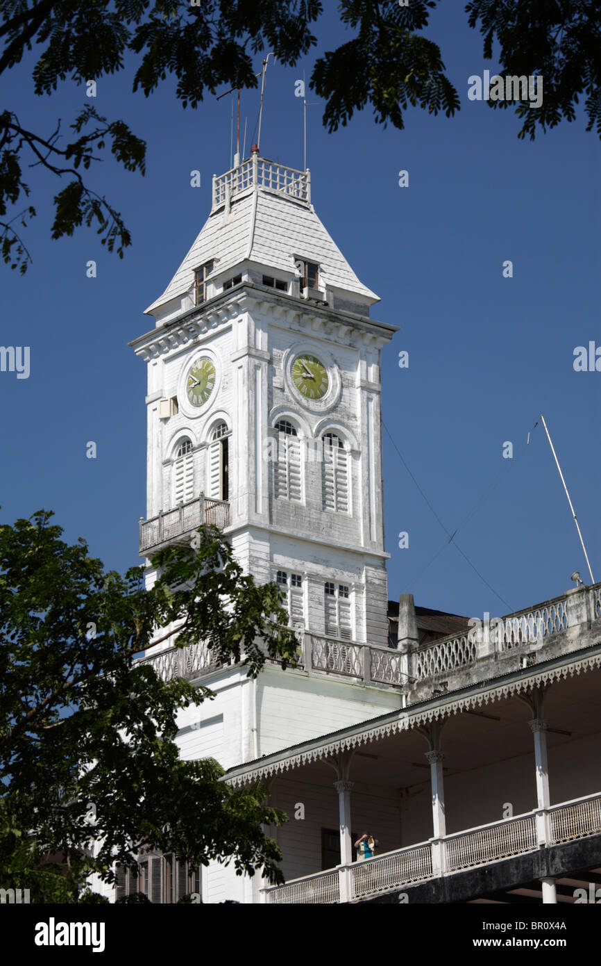 The clock tower of the House of Wonders in Stone Town, Zanzibar, Tanzania - Stock Image