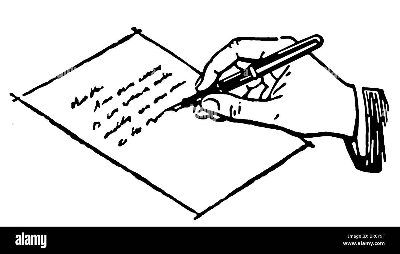 A black and white version of a drawing of a hand writing a letter Stock Photo