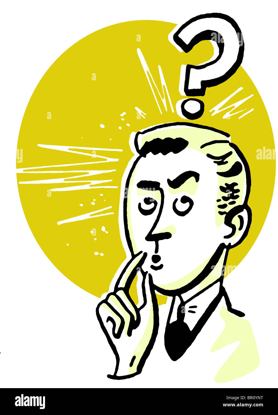 A Cartoon Style Drawing Of A Businessman With A Large Question Mark
