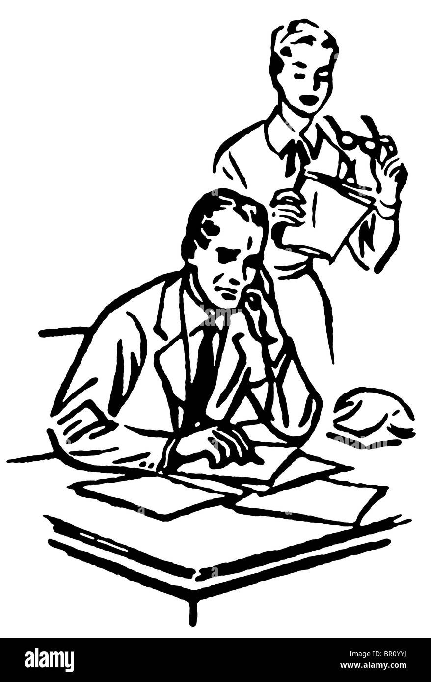 A black and white version of a businessman working at his desk with his secretary standing over him - Stock Image
