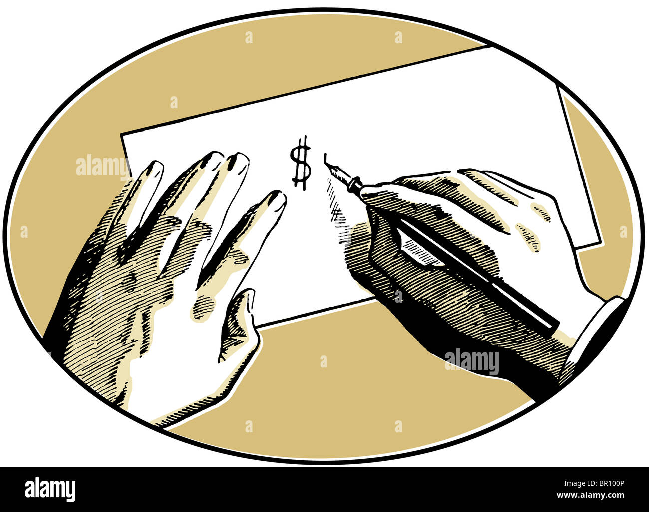 An Illustration Of Two Hands On A Desk Writing A Dollar Symbol Stock