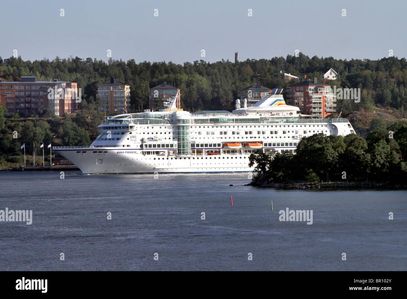 Birka Paradise Cruise Ship in the Stockholm Archipelago in Stockholm, Sweden Stock Photo