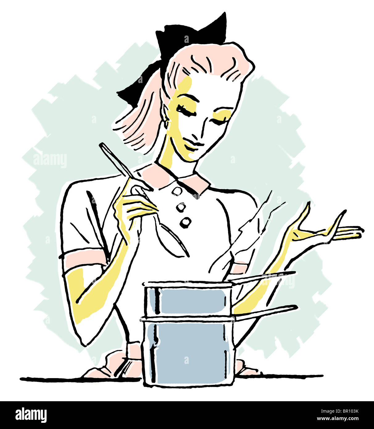 A pop art style portrait of a chef - Stock Image