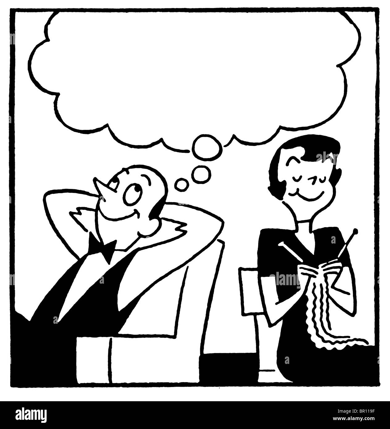 A black and white version of a cartoon style image of a couple with a large speech bubble above - Stock Image