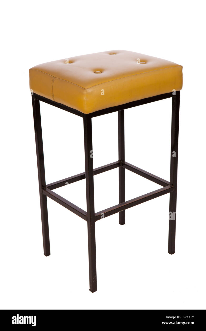 1960s furniture, Remploy made steel upholstered bar stool - Stock Image
