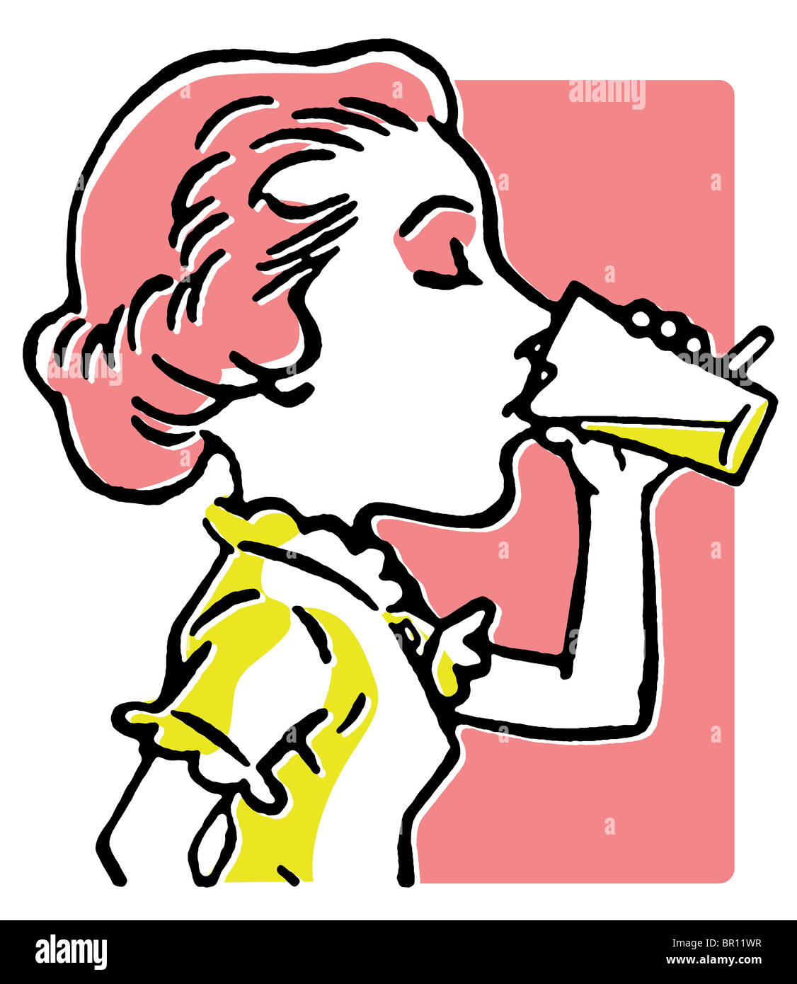 A line drawing of a woman enjoying a refreshing drink - Stock Image